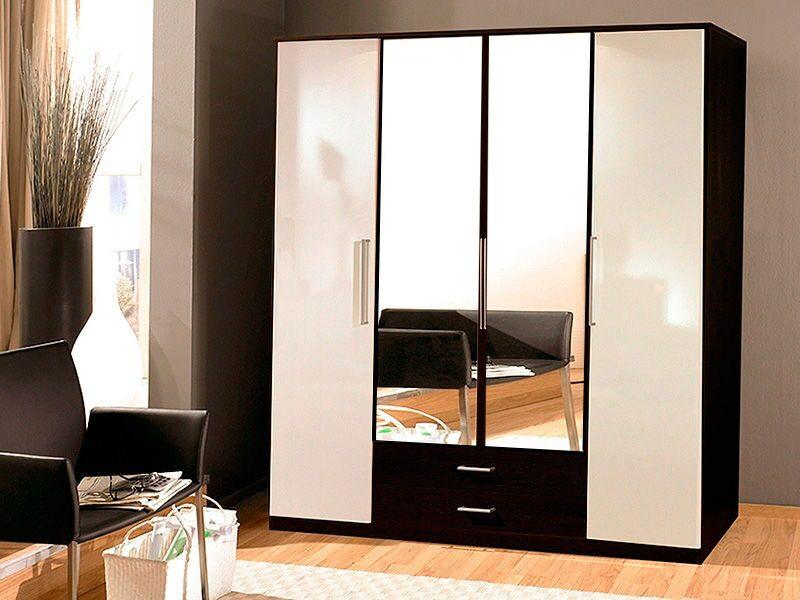 Шкаф 4-х створчатый распашной глЯнец 9 с зеркалами.